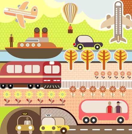 Paysage d'été avec le train, bateau, avion et bus. Banque d'images - 12433179
