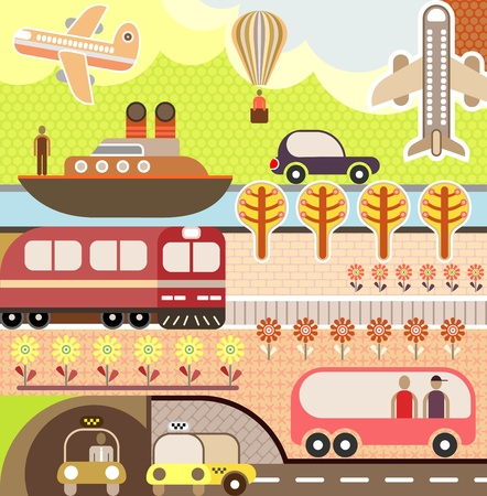 train cartoon: Summer landscape with train, ship, airplane and bus. Illustration