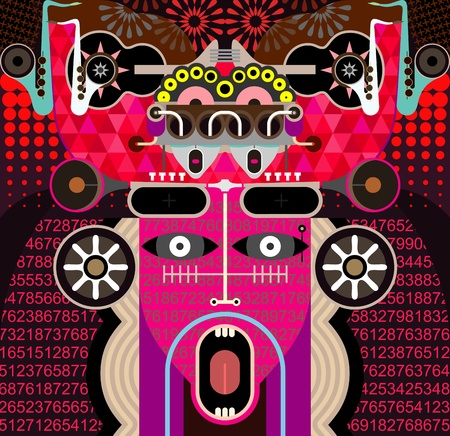 cybernetics: Modern Graphic Art - vector background. Abstract portrait of shouting man.