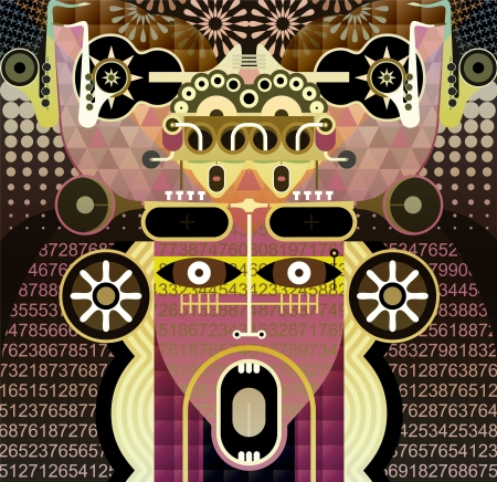 cybernetic: Modern Graphic Art background  Abstract portrait of shouting man