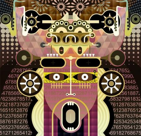 Moderne portrait graphique abstrait art de crier l'homme Banque d'images - 12799761