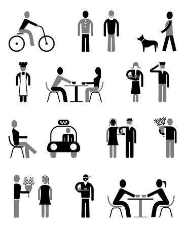 gente: Iconos vectoriales establecidos - Gente aislada negro y gris sobre blanco