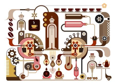 food and drink industry: Fabbrica Caff� - Ristorante illustrazione vettoriale, cafe