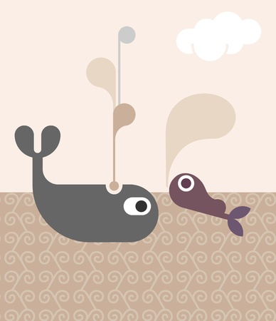 Whale Family - father and son. Abstract vector background.