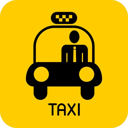 Taxi - vector icon. Black car image on yellow background. Vector