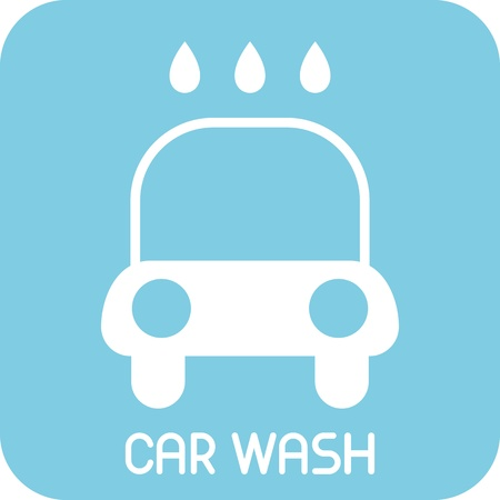 wash car: Car Wash - icon. Isolated auto service sign. Blue background.