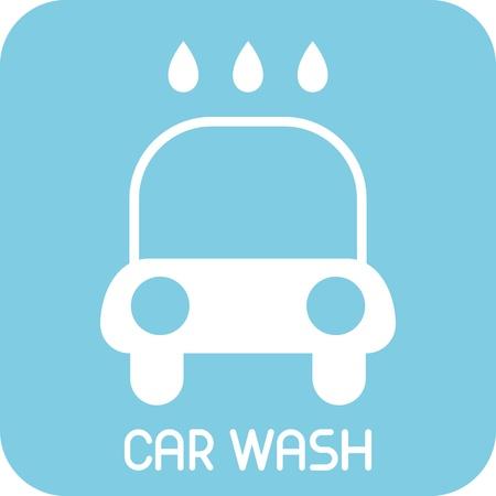 lavado: Lavado de coches - icono. Auto aislada signo de servicio. Fondo azul.