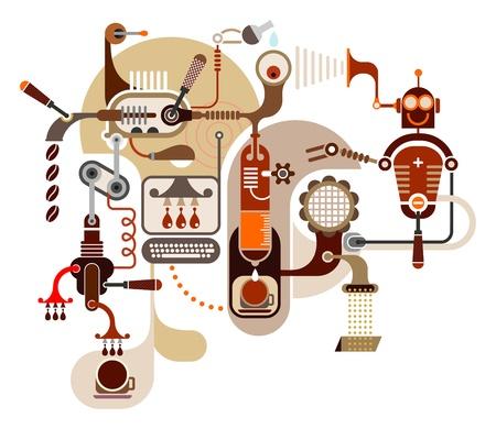 food and drink industry: Coffee Factory - illustrazioni a colori su sfondo bianco. Vettoriali