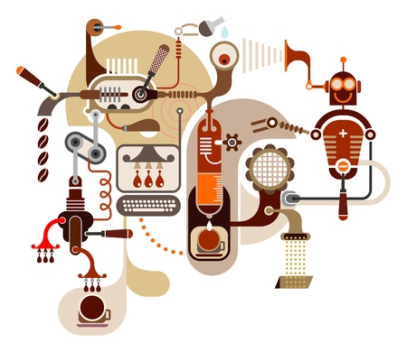 Coffee Factory - color illustration on white background.