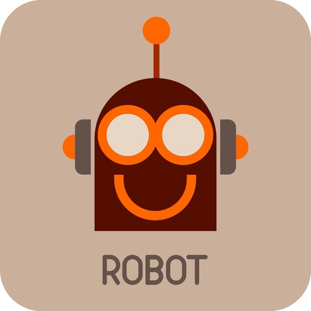 funny robot: Robot Head - color icon. Smiling Robot.