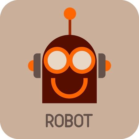 robot head: Robot Head - color icon. Smiling Robot.