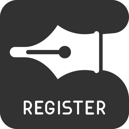 Registreren, aanmelden - geïsoleerde vector pictogram.