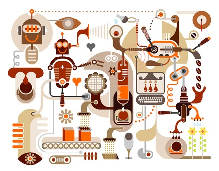 chicchi caff: Coffee Making - illustrazione vettoriale. Cafe, Restaurant. Coffee House menu. Versare i chicchi di caff�.