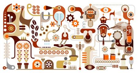 fliesband: Coffee Making - Vektor-Illustration. Kaffeemaschine. Kaffee-Haus-Men�. F�llen Sie Kaffeebohnen. Illustration