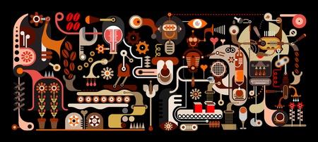 Fábrica de café - color ilustración vectorial sobre fondo negro. La Fábrica de Magia, donde los granos de café se muelen y se mezclan con los sonidos de la música, el agua pura, la fragancia de las flores y del estado de ánimo del amor que va a crear el café más delicioso