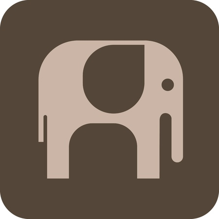 african grey: Elephant - isolated vector icon on grey background. Can be used as logo.