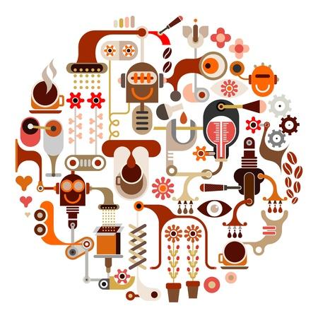 food and drink industry: Coffee Making - forma rotonda. Illustrazione vettoriale isolato su sfondo bianco.