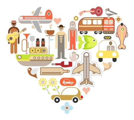 funny car: Travel Icons in Heart Shape - isolated vector illustration on white background. Color design elements. Illustration