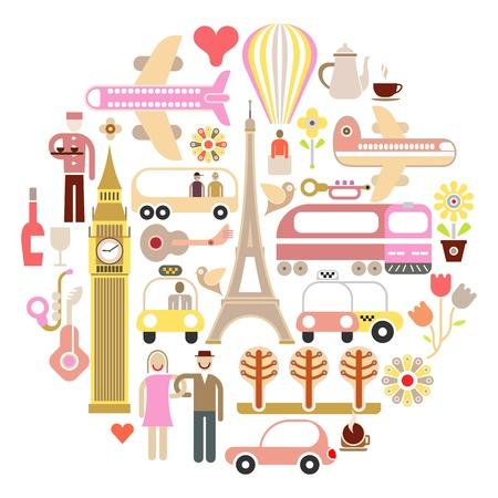 pastel colours: Viajes - ilustraci�n vectorial aislados en fondo blanco. Forma redonda. Los colores pastel.