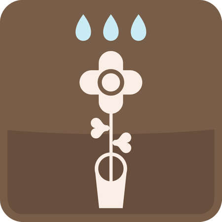 Flowerpot - isolated vector icons. Abstract signs. Watering Flower. Stylized glass button. Stock Vector - 13453185