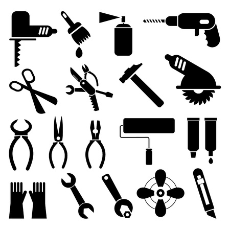 drill: Hand tools - set of icons. Isolated black symbols on white background. Work tools signs, pictograms. Illustration