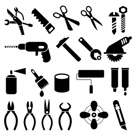 pocket knife: Hand tools - set of icons. Isolated black symbols on white background. Work tools signs, pictograms. Illustration