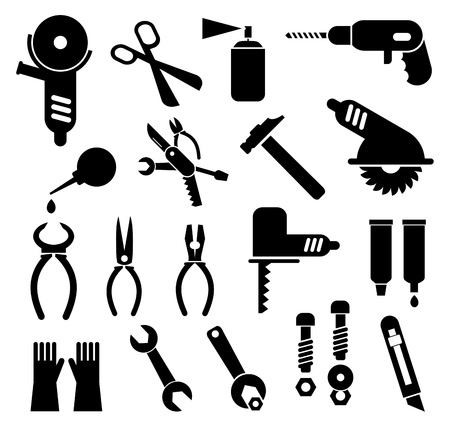 drill: Tools - set of isolated icons. Black pictogram on white background.