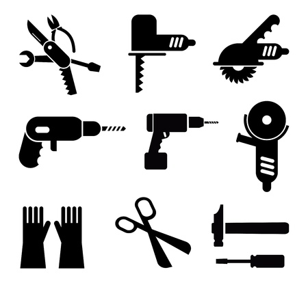taladro: Herramientas y Equipos - conjunto de pictogramas aislados. Iconos negros sobre fondo blanco.