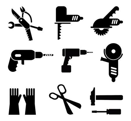 Herramientas y Equipos - conjunto de pictogramas aislados. Iconos negros sobre fondo blanco.
