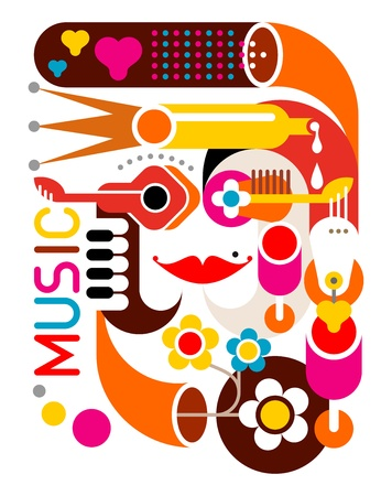 summer festival: Music - abstract illustration on white background.  Illustration