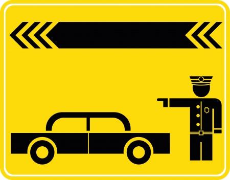 overseas: Aduanas de estaciones de inspecci�n - signo vector, icono. Negro sobre amarillo de la imagen. El oficial de polic�a.
