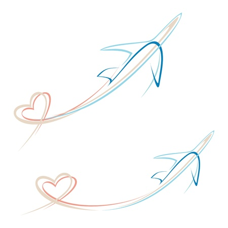 Flying airplane with heart shape trace - Vector