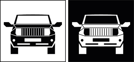 The off-road vehicle - isolated vector icon  SUV  Black and white image  Can be used as logo   Vector