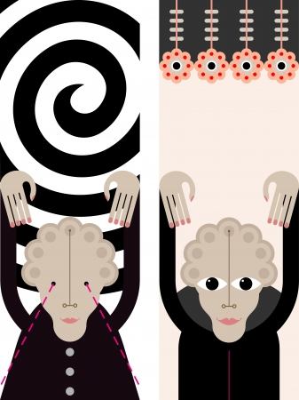 Hypnosis. Female Hypnotist. Banner with place for some text. Stock Vector - 13896431