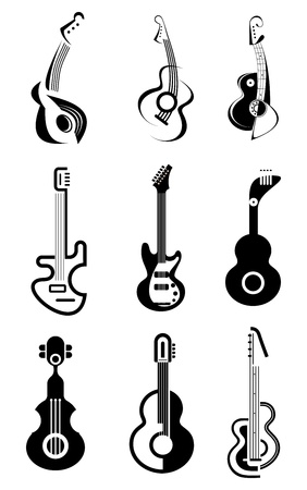 Acoustic and Electric guitars - set of black . Isolated symbols on white background. Design elements. Can be used as logo. Vector