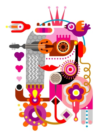 carnival girl: Abstract woman face. Artwork illustration on white background.
