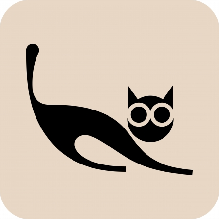 grey cat: Black cat - isolated vector icon on light grey background.