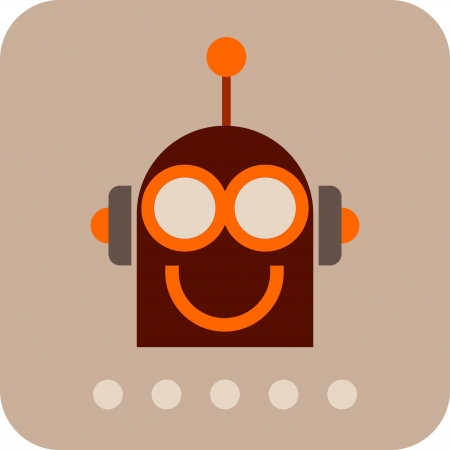bot: Robot Head - isolated vector icon. Smiling Robot. Illustration