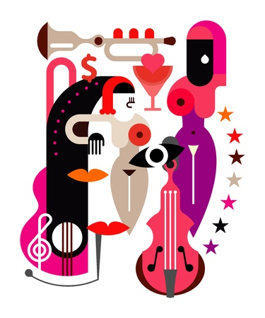 Woman and music - abstract vector illustration on white background.  Stock Vector - 14375433