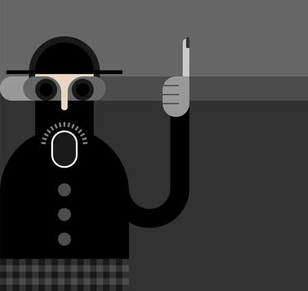 unshaven: Man in hat and jacket stands with one arm raised and index finger up. Grayscale image, vector banner.