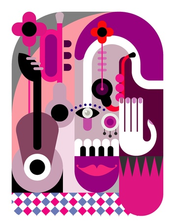 summer festival: Music Festival - abstract vector illustration. Color poster, placard.