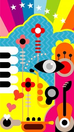 abstract music: Abstracte muziek kunst achtergrond. Kleur vector illustratie. Stock Illustratie