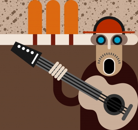 unshaven: Man singing and playing guitar. Color vector illustration.