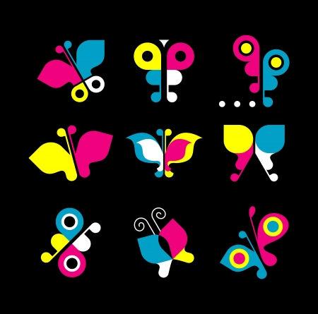 polygraphic: Butterfly logo. Set of CMYK color mode design elements on black background. Can be used as logotype.
