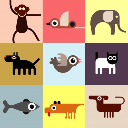 Animals and Pets - set of icons. Seamless wallpaper. Domestic and wild animals. Vector