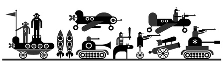 War - vector illustration. Military equipment and soldiers.