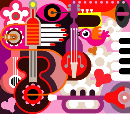 Abstract Music Background - illustration. Collage with musical instruments. Vector
