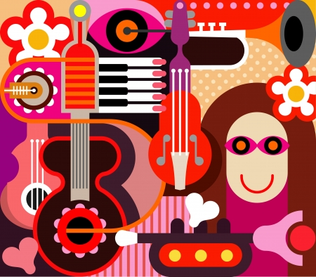 hands on keyboard: Abstract Music Background - illustration. Illustration