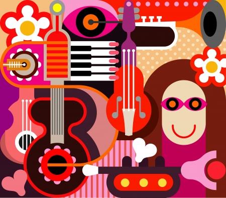 abstract music: Abstract Muziek Achtergrond - illustratie.