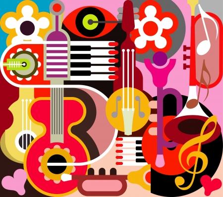 abstract music: Abstract Muziek Achtergrond - illustratie. Collage met muziekinstrumenten.